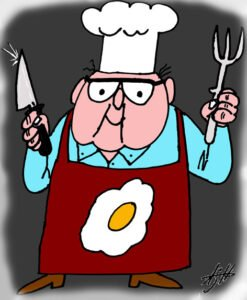 My father cooking. 2007. I had this cartoon printed on a kitchen apron, which he used for the next 10 years until his passing. I use it now.